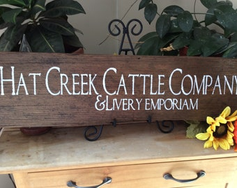 Lonesome dove sign, Hat Creek Cattle Company, Western home decor, cowboy sign, western movie quote, Rustic  Home decor, Barnwood sign