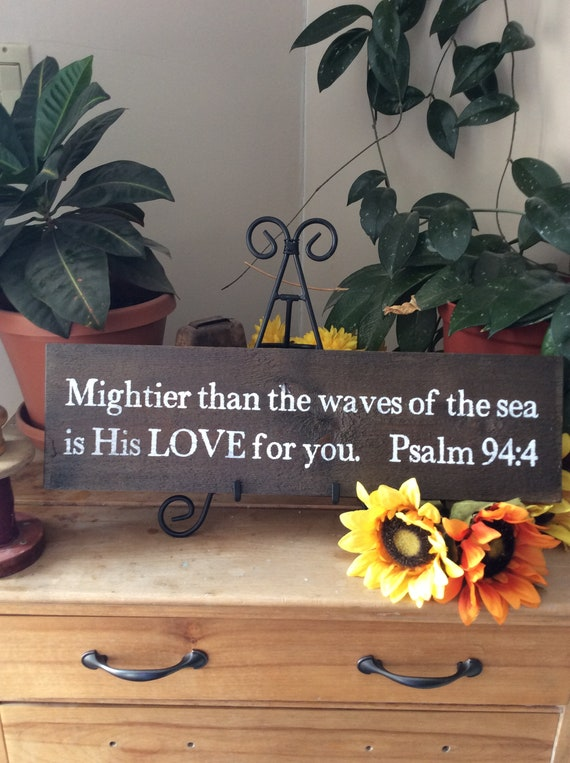 Bible Verse Sign, Scripture Verse Sign, Mightier Than the Waves, Christian Home decor, western Home decor, rustic home decor, Barnwood Sign