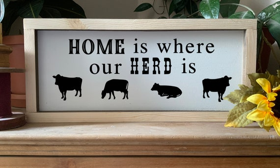 Home is where our herd is framed sign with cows, Western Ranch Sign, Rustic Western Wall Art