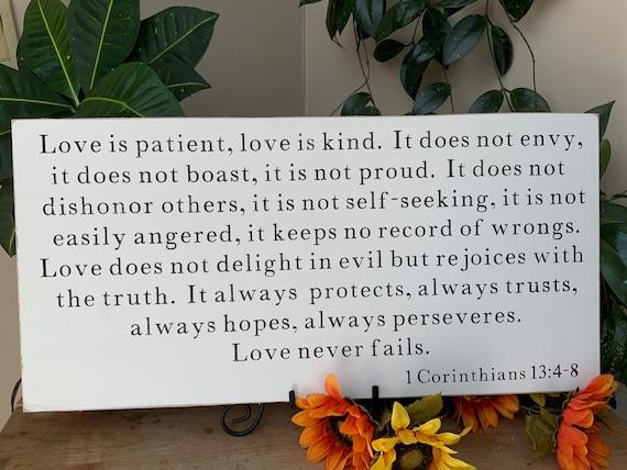 Living Room Sign/ Wedding Sign/ Love is Patient/ 1 Corinthians 13/ Scripture Sign/ Bedroom Sign/ Bible Verse Sign/ Christian Wall Art
