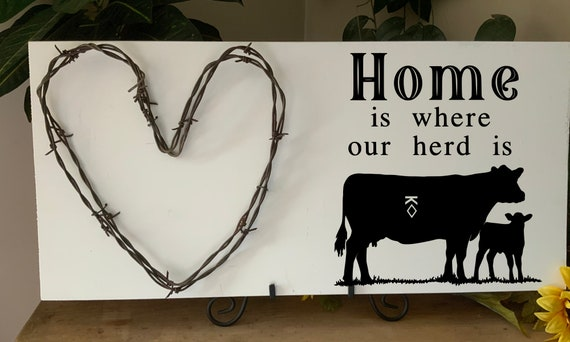 Home is where our herd is, Custom sign, add your brand, Cowboy sign,  barbed wire art, living room sign, Western Decor, Rustic Decor