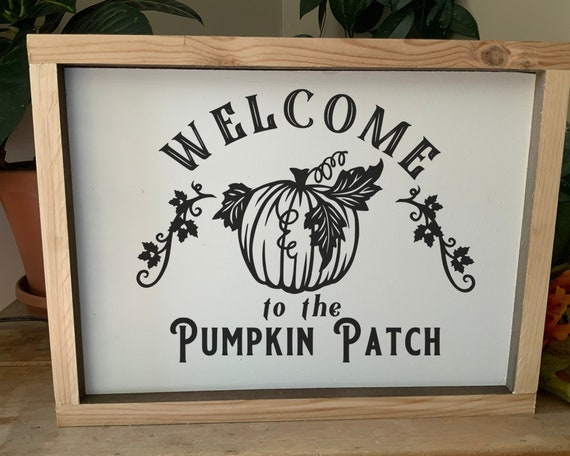 Welcome to the Pumpkin Patch Fall Autumn Thanksgiving Sign, Rustic Western Framed Sign