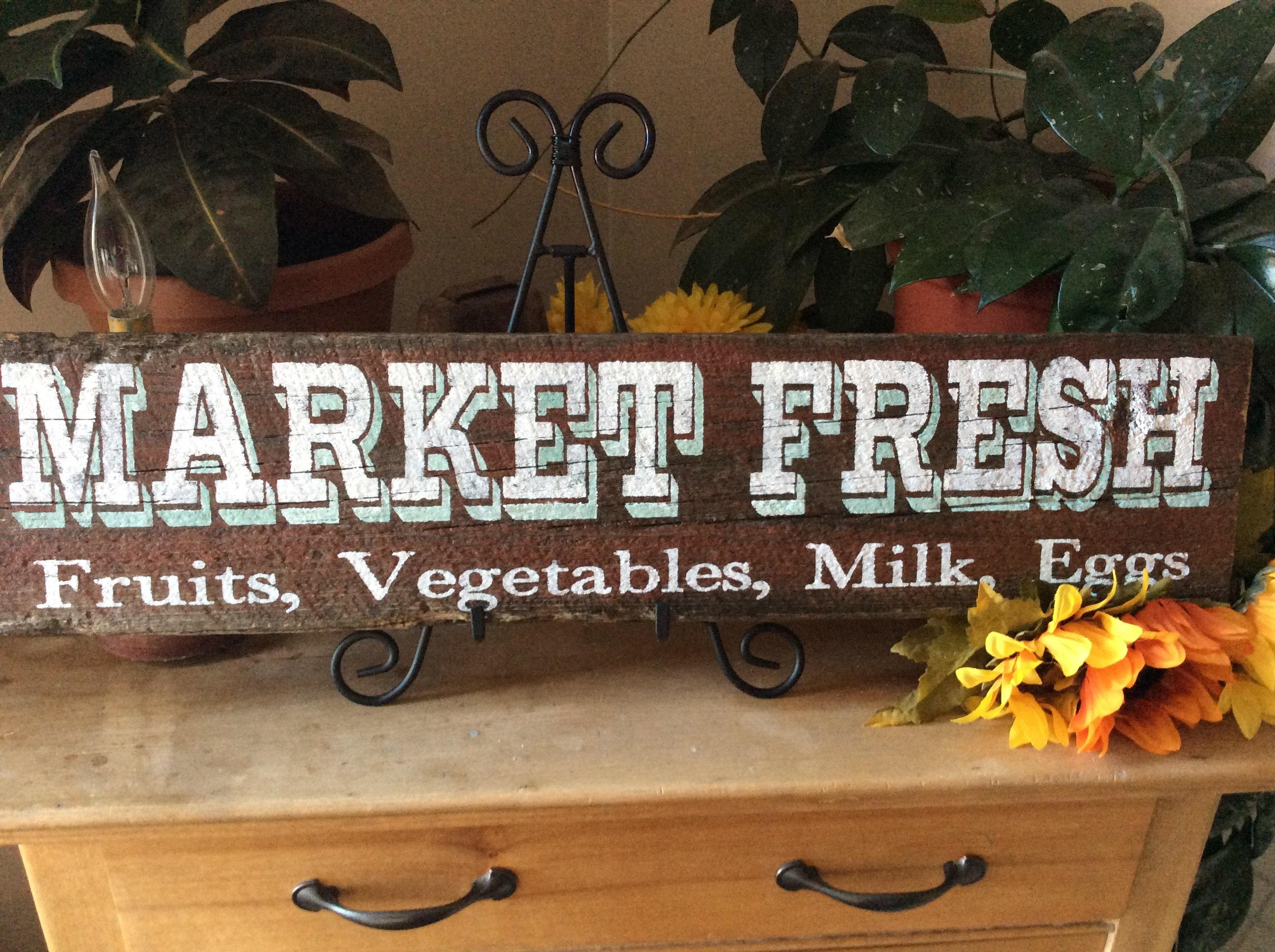 Rustic Kitchen Sign Western Kitchen Sign Market Fresh Fruit