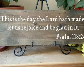 This is the Day the Lord Hath Made, Let Us Rejoice, Rustic Bible Scripture Verse Sign, Psalm 118:24, For Your Western Christian Home