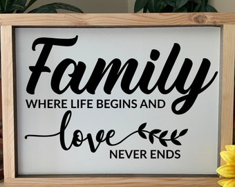 Family, where life begins and love never ends, Rustic Western Framed Sign, Country Farmhouse Decor, Wedding Housewarming Gift