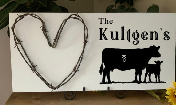 Custom Ranch Sign with family name and your brand or heart, Cowboy sign,  barbed wire art, living room sign, Western Decor, Rustic Decor