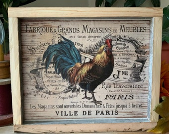 Rooster Kitchen Sign/ Farmhouse Decor/ Western Home/ French Country Decor/ Vintage Farmhouse Style Rooster/ Rustic Barnwood Decor