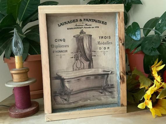 French Country Bathroom Sign/ Farmhouse Decor/ Western Home/ Vintage Farmhouse Style Bathroom/ Rustic Framed Bath Sign
