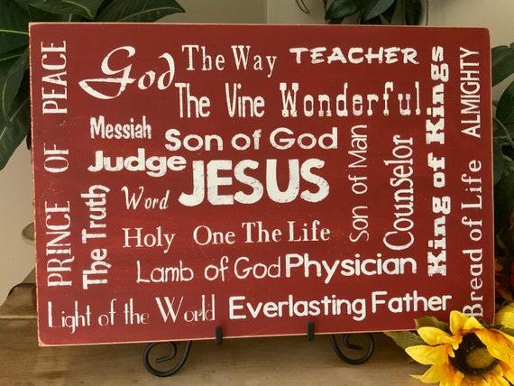 Living Room Sign/ Names of God/ Names of Jesus/ Scripture Sign/ Bedroom Sign/ Bible Verse Sign/ Christian Wall Art/ Housewarming Gift