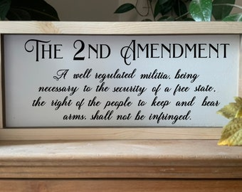 Second Amendment Framed Sign, Gun Rights, Patriotic Sign, Rustic Western Wall Art, Man Cave Dad Gift