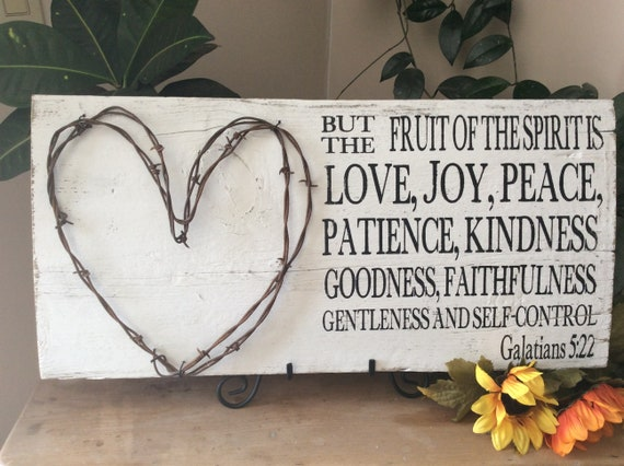 Bible Verse Sign, Scripture Verse Sign, Fruit of the Spirit, Christian Wall Art, Barbed Wire Art, Western Decor, Rustic Decor