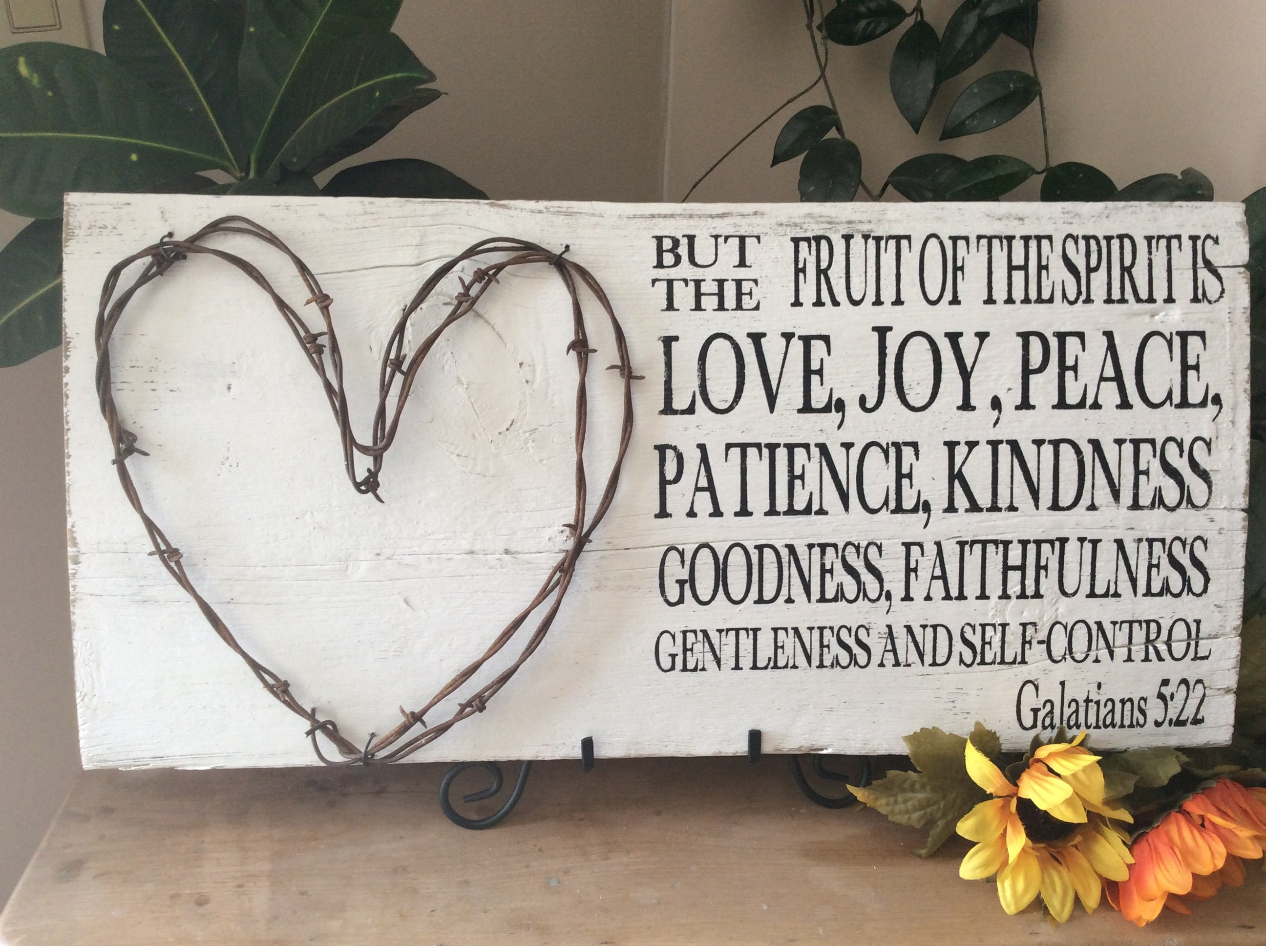 Bible Verse Sign With Barbed Wire Scripture Verse Sign Fruit Of