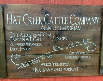 Lonesome Dove Hat Creek Cattle Company Wagon Sign Replica, Rustic Western Cowboy Decor, Fathers Day or Birthday Gift