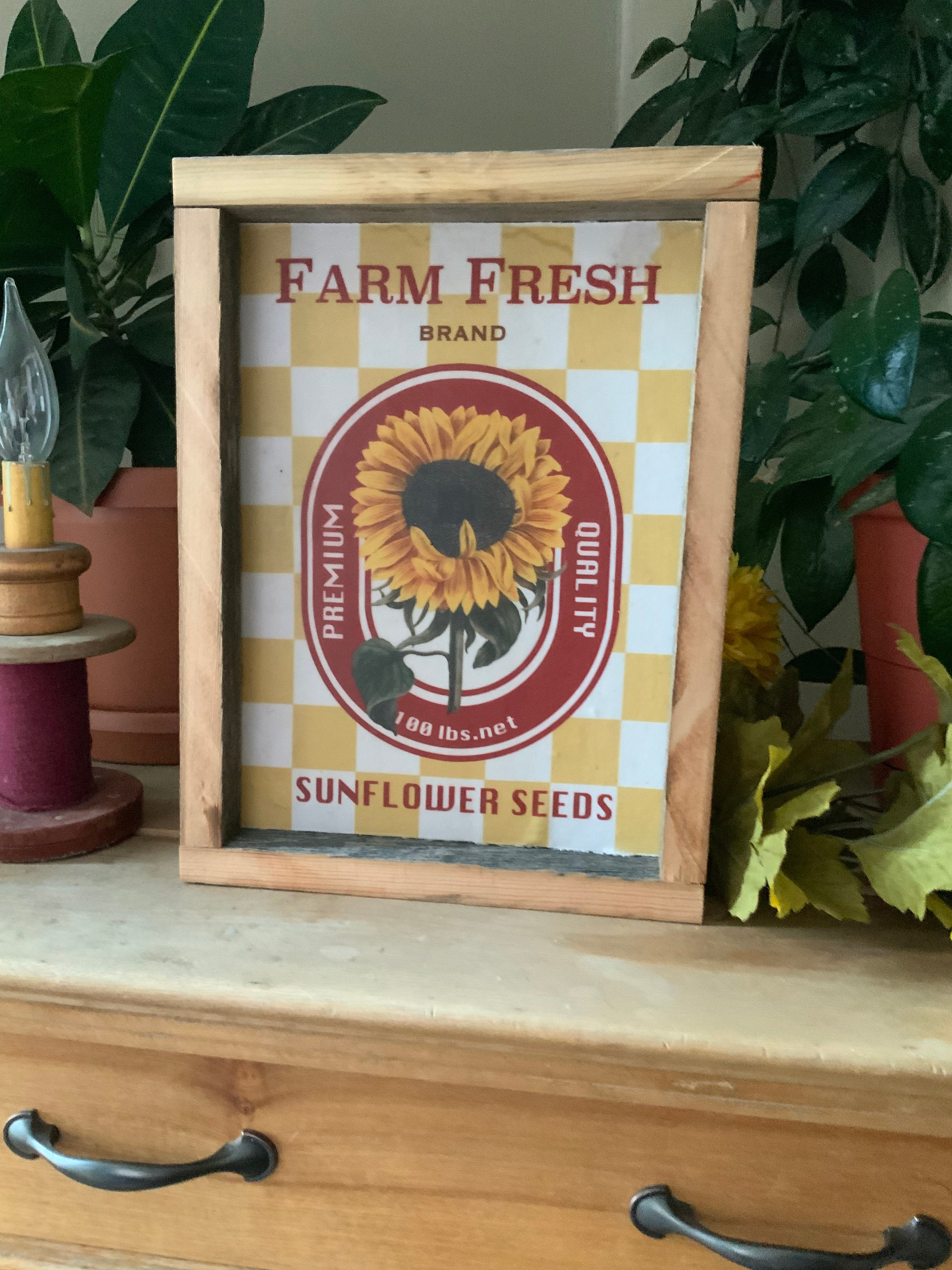 Sunflower Kitchen Sign Farmhouse Decor Western Home French Country Vintage Style Rustic Barnwood