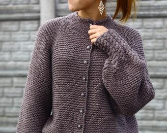 Knitting Pattern - Knitting cardigan (SIZES: 7/8, 9/10, 11/12, S, M, L, XL), cardigan pattern - spring cardigan pattern, download