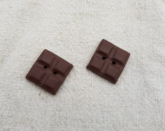 set of 2 chocolate squares (ref BO010) buttons