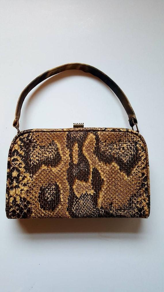 Faux snakeskin bag, 1940's, vintage bag, box bag,… - image 4