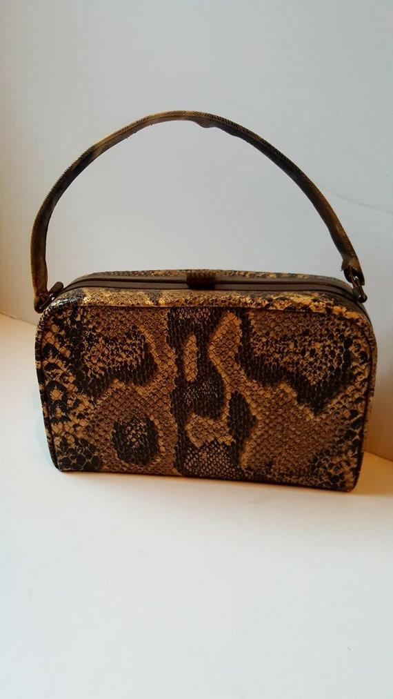 Faux snakeskin bag, 1940's, vintage bag, box bag,… - image 1