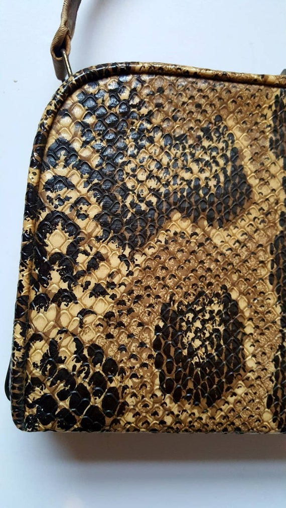 Faux snakeskin bag, 1940's, vintage bag, box bag,… - image 5