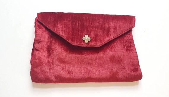 Red velvet clutch, vintage bag, 1930's bag, evenin