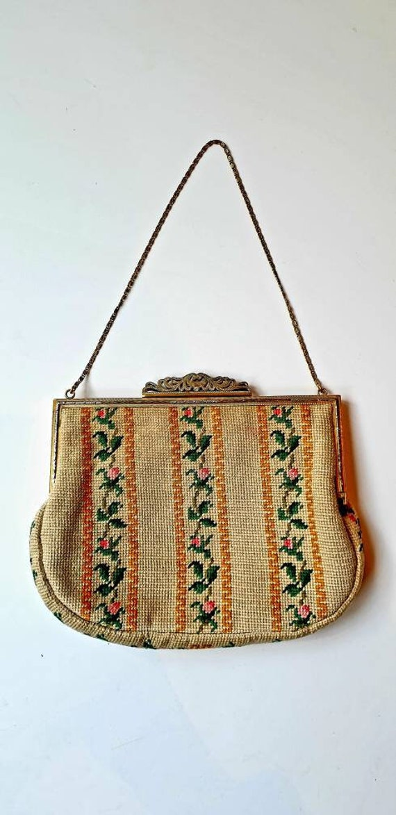 Tapestry bag, 1950's vintage, cream and yellow, ro