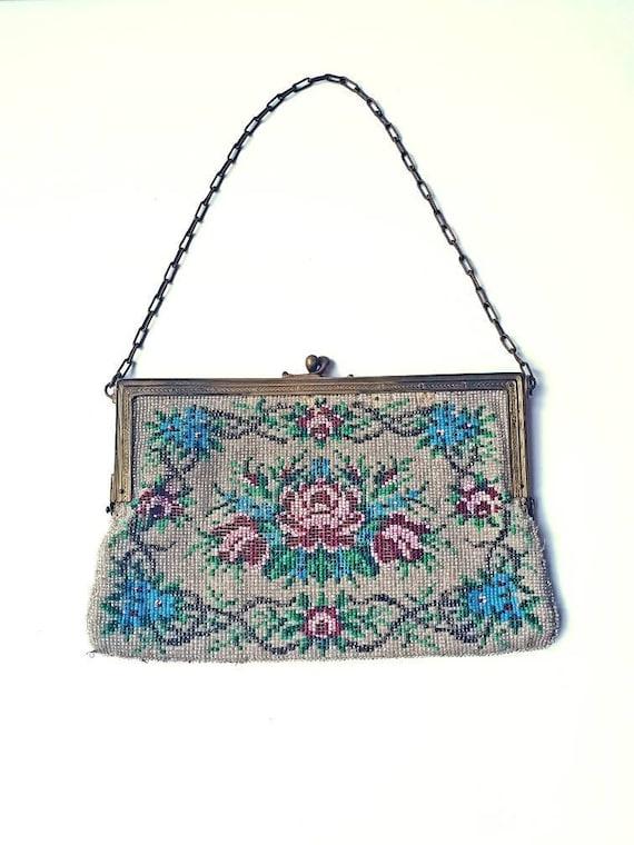 1920's bag, beaded evening bag, vintage, tapestry