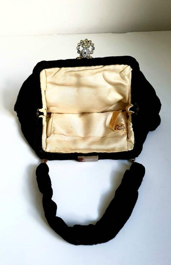 HIGH END vintage 1940s elegant black evening wool and velvet bag