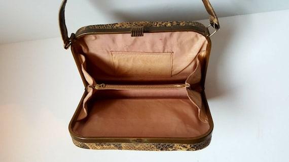 Faux snakeskin bag, 1940's, vintage bag, box bag,… - image 7