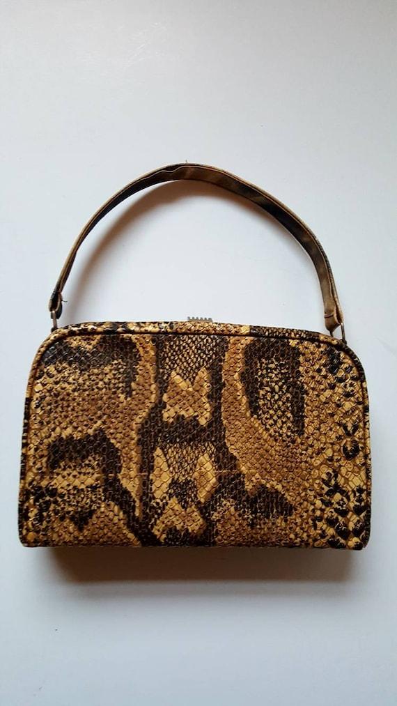 Faux snakeskin bag, 1940's, vintage bag, box bag,… - image 10