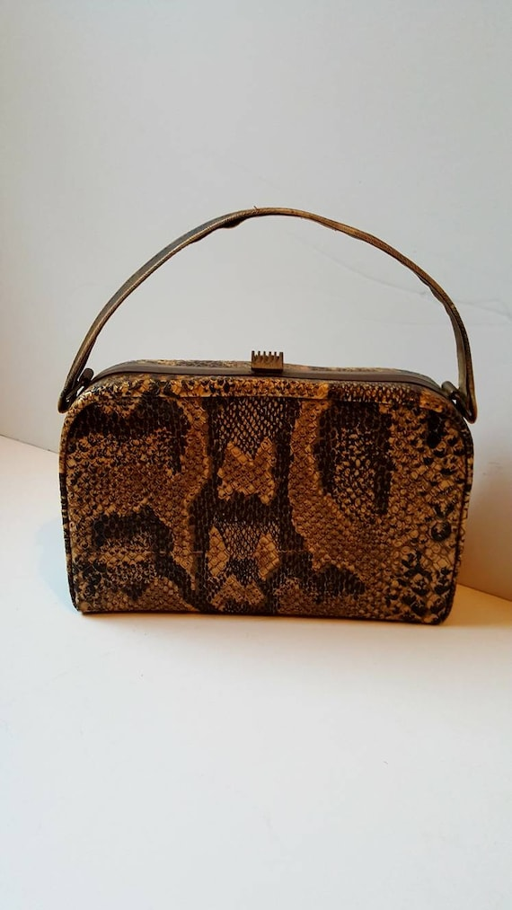 Faux snakeskin bag, 1940's, vintage bag, box bag,… - image 6