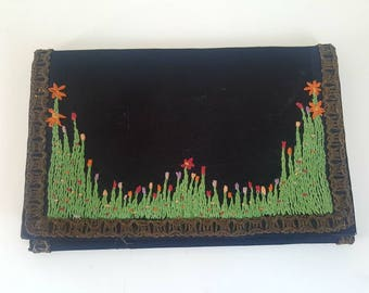 Edwardian purse, Black silk, 1920's, floral embroidery, twenties purse, vintage,