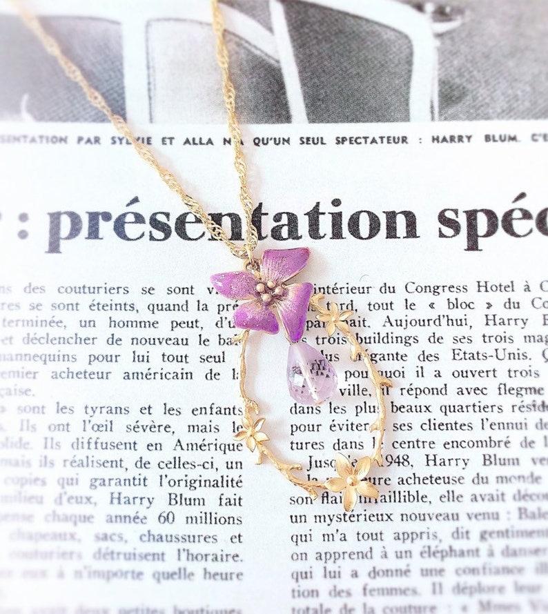 Necklace--Tethys Amethyst--enamel and Amethyst flower