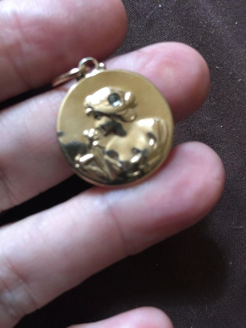 14K Gold Victorian Woman Charm with Diamond