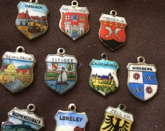 Vintage Travel Charms Silver Enameled
