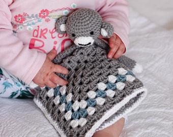 Crochet monkey lovey pattern // security blanket // blanket toy // PDF crochet pattern