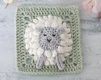 Crochet lamb square pattern // Sheep granny square motif // Crochet lamb afghan square // Farmyard blanket square // Crochet animal pattern