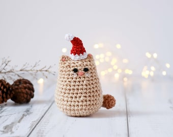 Crochet cat pattern // Christmas ornament pattern // amigurumi cat crochet pattern