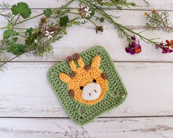 Crochet giraffe square pattern // Giraffe granny square motif // Crochet Giraffe afghan square // Africa blanket // Crochet animal pattern
