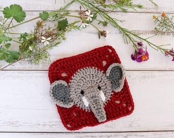 Crochet elephant square pattern // Elephant granny square motif // Elephant afghan square // Jungle blanket // Crochet animal pattern