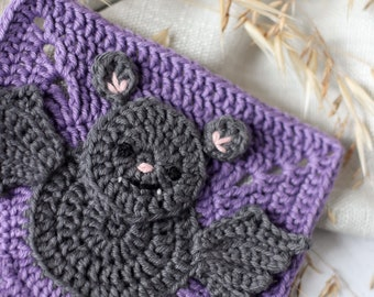 Crochet bat square pattern // animal square motif // digital PDF crochet pattern
