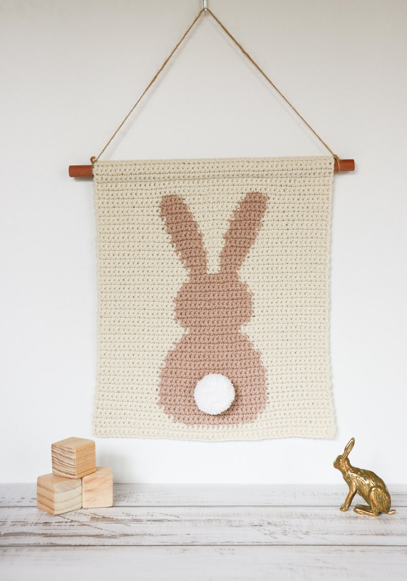 Crochet Rabbit Wall Hanging Pattern Bunny Nursery Decor