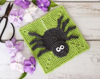 Crochet spider square pattern // creepy crawly square motif // digital PDF crochet pattern