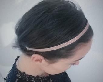 Leather headband, fabric ribbon