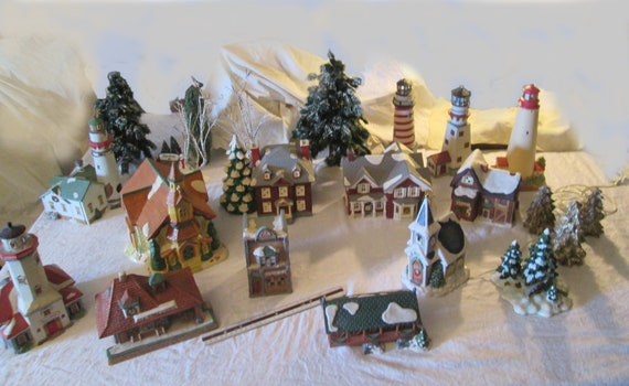 Christmas Village Houses.Mid Century Christmas Village Houses Shops Lighthouses With Trees Etc