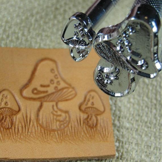 2 Leather Stamping Tools Steel Craft Japan #K158//K159 Mushroom Stamp Set