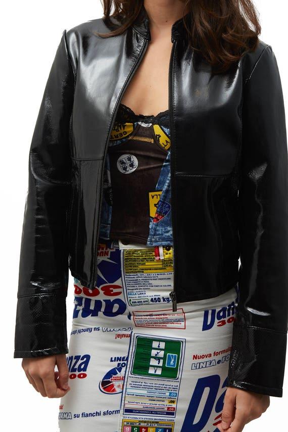 Jean Paul Gaultier jeans veste cuir verni