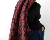 Vintage, Fuzzy, Wool-Blend, Poppy, Poppy-Patterned, Patterned, Heavy-Weight, Knit, Top, Sweater, Cardigan