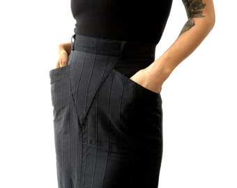 a1e7dc43e2 Vintage, Made in Canada, Retro-Style, Black, High-Waisted,  Exaggerated-Pocket, Striped, Slim, Midi-Length, Pencil-Skirt, Skirt