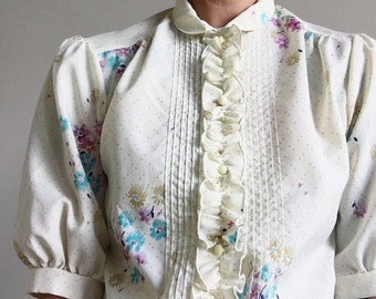 Vintage, 1970's, Off-White, Floral, Half-Sleeve, Puff-Sleeve, Pleated-Shoulder, Button-Up, Button-Down, High-Collared, Shirt, Top, Blouse