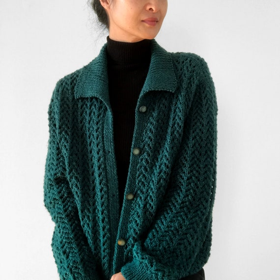 Vintage, Hunter-Green, Green, Collared, Button-Up,